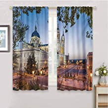 HoBeauty home Europeanblack Out Window curtainOld Cathedral and Royal Palace in Madrid Mediterrenean City Europe Urban Printsmall Window curtainMulticolor63 x 63 inch