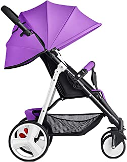 Baby Sunscreen Umbrella Foldable Stroller, Infant Carriage Can Sit Reclining Pushchair Lightweight Folding Portable Doll Strollers Shock Absorber Baby Stroller Pram for Newborn,Purple