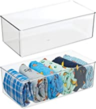 mDesign Long Plastic Drawer Organizer Box, Storage Organizer Bin Container; for Closets, Bedrooms, Use for Leggings, Sock...