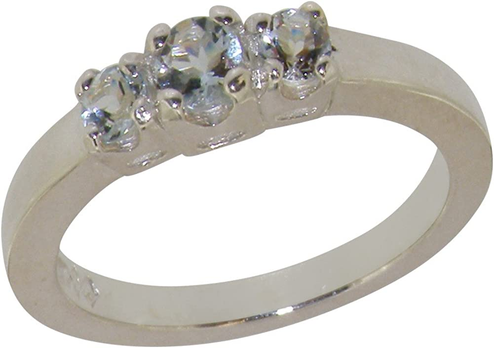 14k 2021 autumn and winter new White Gold Natural Aquamarine Womens Sizes 4 Popular brand Ring - Trilogy