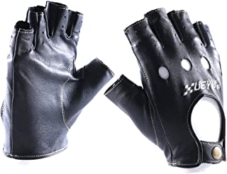 Bike Gloves Leather Riding Fingerless Motorcycle Short Black for Gents Ladies