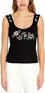 Ribbed-Knit Embroidered Tank