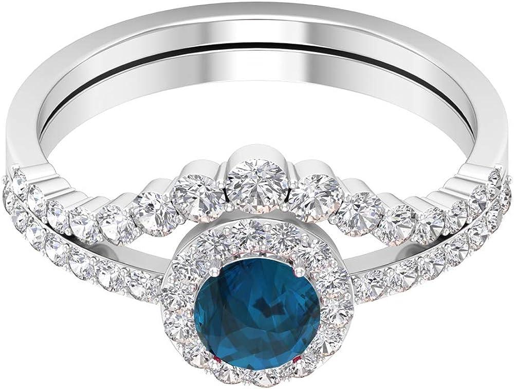 Bridal Ring Set 5 Max 57% OFF MM Engagement Excellent Solitaire Diamond Enhance