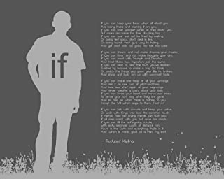 If by Rudyard Kipling - Man Silhouette Gray by Quote Master Art Print, 28 x 22 inches