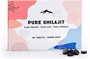 Pure Shilajit Tablets 90ct. (200mg Each) - Plant Derived Fulvic Minerals Support Metabolism and Immune System