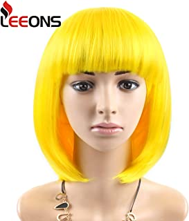 """LEEONS12"""" Yellow Short Synthetic Bob Hair Wigs Heat Resistant Straight Custom Cosplay Christmas Party Wigs for Women"""