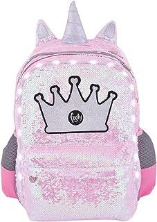 Mochilas para Ni/ñas para Preescolares y Colegio De Primaria Ve a la Moda Estilo Corona Juveniles con Lentejuelas y de Tela Tendencia 2020 FOOTY