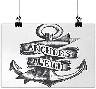 Anchor Art Oil Paintings Tattoo Style Navy Symbol Sketch with Ribbon and Vintage Lettering Insignia Canvas Prints for Home Decorations Charcoal Grey White 20