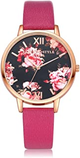 Women Flower Watches COOKI Clearance Ladies Watches Female Watches on Sale Cheap Leather Wrist Watch-Q89