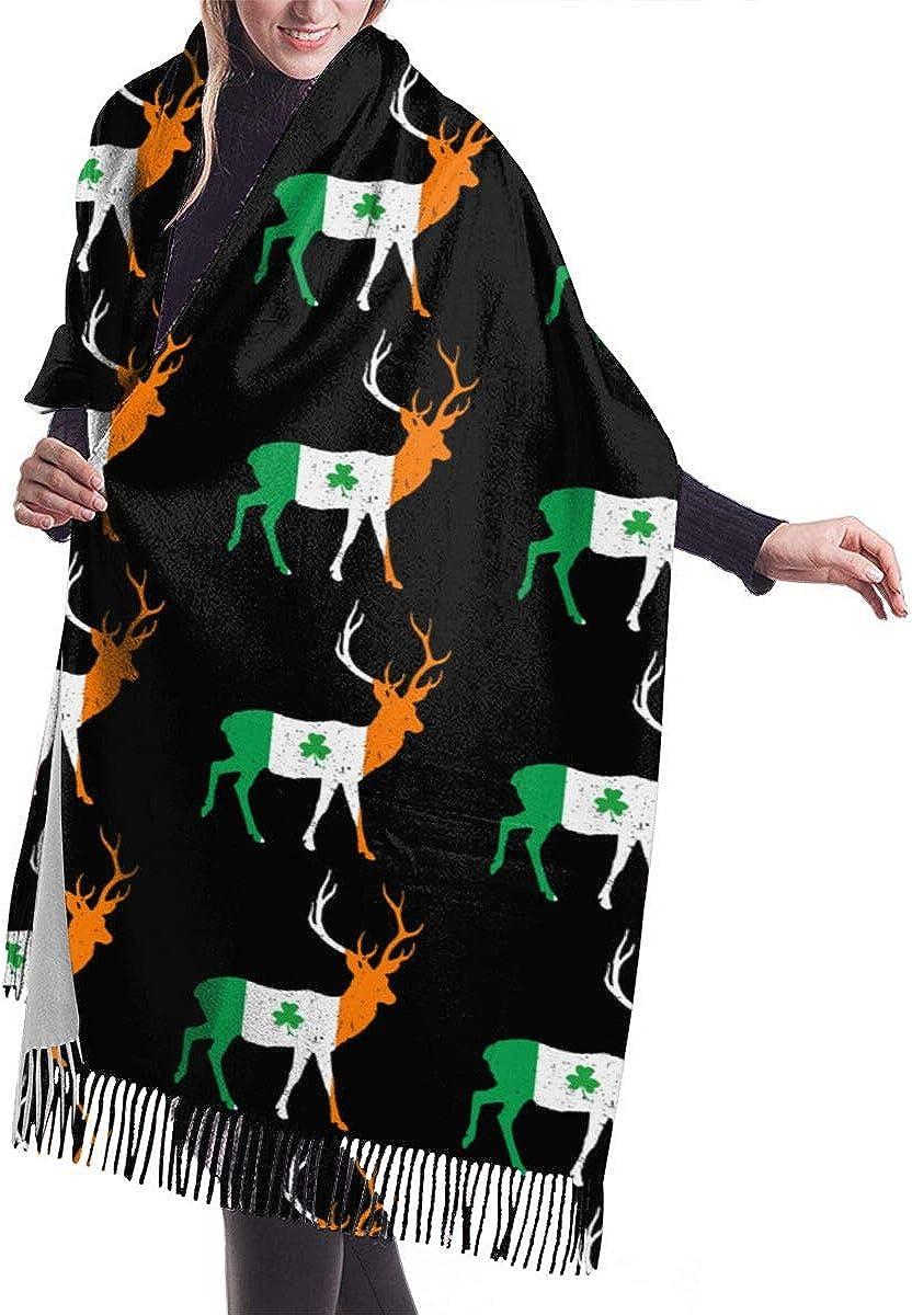 Irish Flag Deer Winter Scarf Cashmere Scarves Stylish Shawl Wraps Blanket