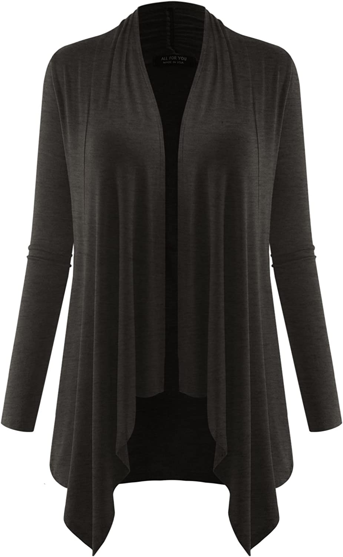 AMORE ALLFY Women's Long Sleeve Flowy Open Cardigan Charcoal Medium