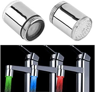 3 Color LED Light Changing Glow Temperature Sensor Shower Stream Water Faucet Tap for Kitchen Bathro​om (23.5mm/0.925in)