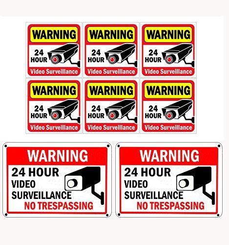 "WISLIFE Video Surveillance Signs Set, 2 (10"" X 7"") Aluminum Security Yard Sign & 6 (6""X6"") Wall & Door Decals, No Trespassing Warning Signs"