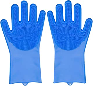 Magic Silicone Gloves Reusable Wash Scrubber Heat Resistant Cleaning Tool Great for Household, Dishwasher, Washing The Car...