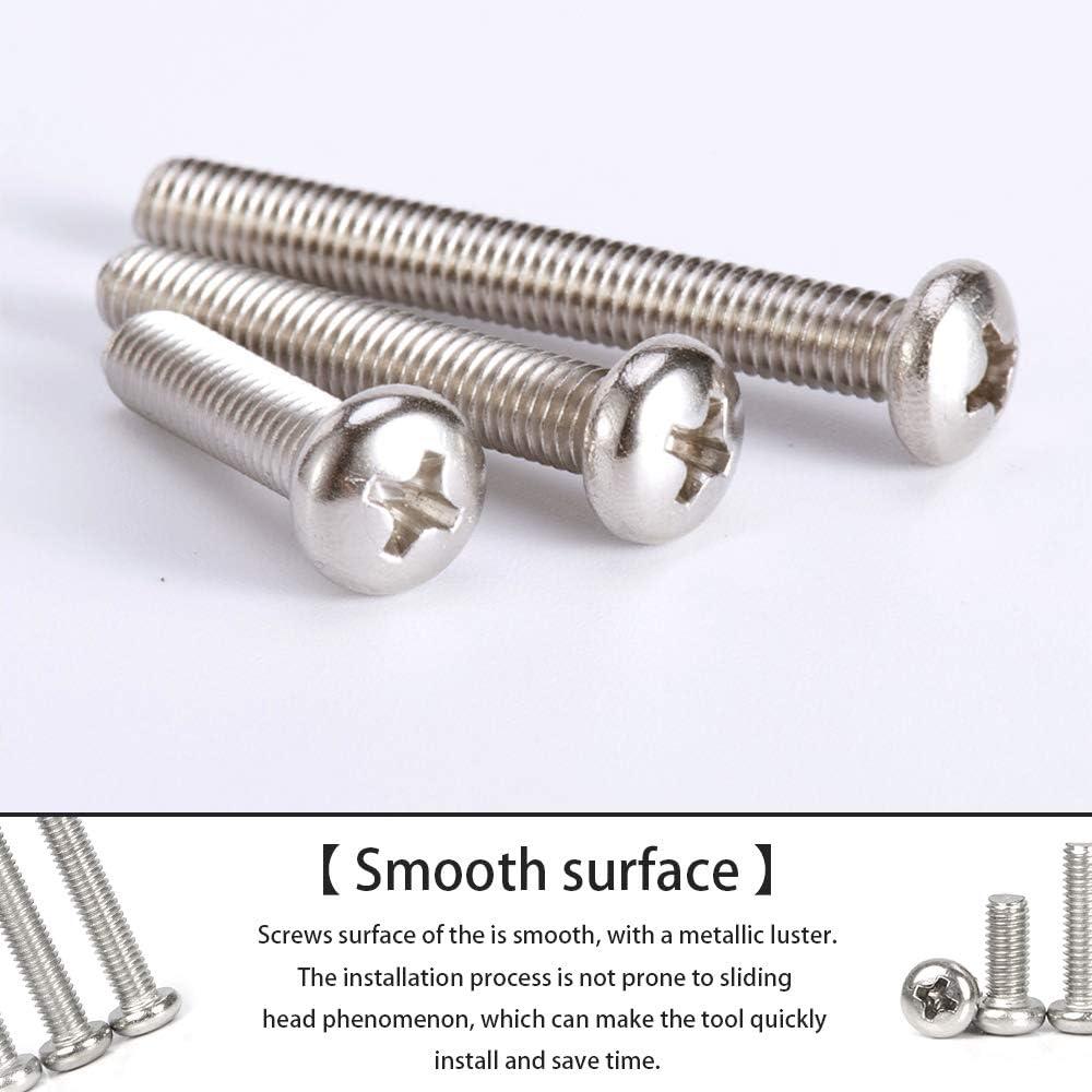 M8x10mm 20pcs SENDILI Alta Calidad Tornillos para Metales M8 Tornillo Cabeza de Cruz Hilo Completo Tornillo de M/áquina de Cabeza Redonda