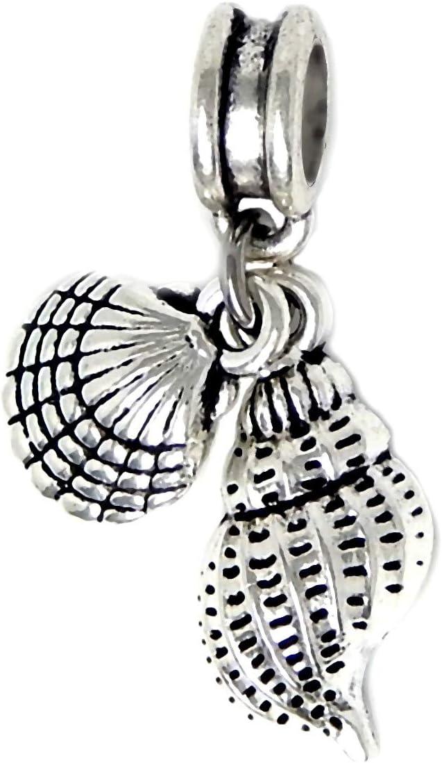 J&M Dangle Sea Shells Charm Bead for Charms Bracelets