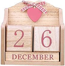 BOBEINI Vintage Houten Eeuwigdurende Kalender Maand Datumweergave Eeuwige Blokken Fotografie Props Desktopaccessoires Home...