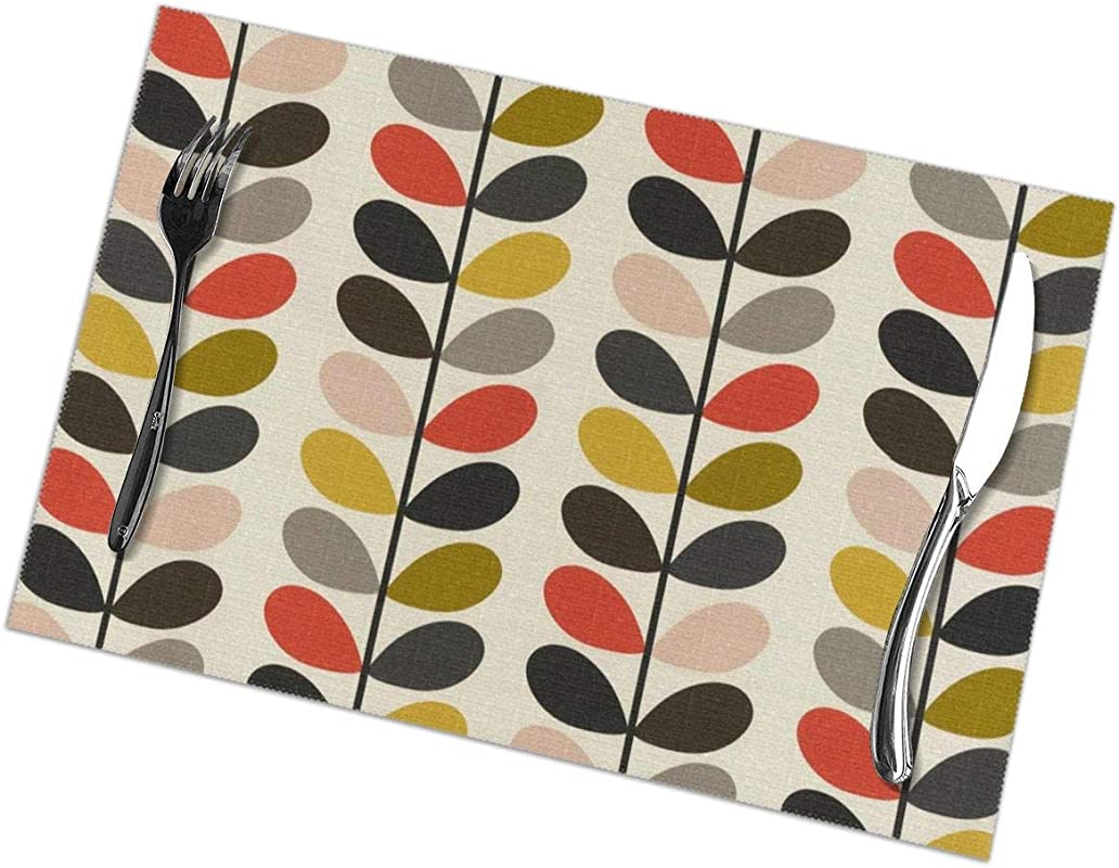 Placemats 12 X 18 Inch Set Of 6 Orla Kiely Washable Fabric Placemats For Dining Table