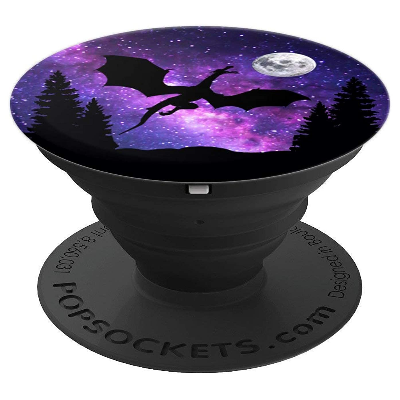 Dragon In The Woods Moon Purple Galaxy Astronomy Gift - PopSockets Grip and Stand for Phones and Tablets