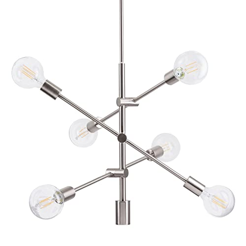 Marabella LED Sputnik Chandelier Light Fixture, Brushed Nickel, Linea di Liara LL-P235