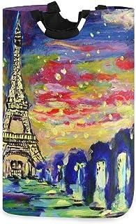 Peinture à l'huile Coucher de soleil et Paris Tour Eiffel Panier à linge Panier Seau Pliable Sac à vêtements sale Poubelle...