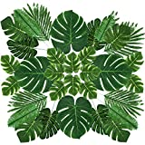 Whaline 60 Stück 6 Arten künstliche Palmenblätter künstliche Monstera Blätter mit Stiel tropische Pflanzen Simulation Safari Blätter für Hawaiian Luau Party Dschungel Strand Themenparty Tisch Blätter