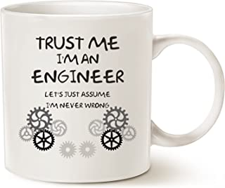 MAUAG Funny Engineer Coffee Mug Unique Christmas Gifts Idea, Trust Me, I'm an Engineer Ceramic Cup White, 11 Oz