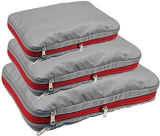 حقيبة ضغط منظمة للسفر من الجانب الصلب وسهلة الحمل وملائمة للحمل مع حقيبة محمولة وتصنيف سعة كبيرة مع سحاب, , 18-Grey - trav...