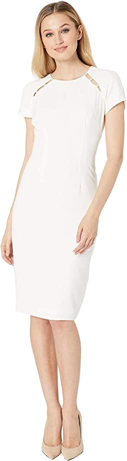 Textured Crepe Pearl Sheath Dress