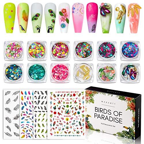 Makartt Nail Decoration Set, Birds of Paradise Collection 12 Boxes Nail Sequins Nail Glitters Nail Rhinestones with 4 Sheets Nail...