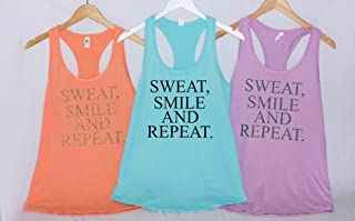 Workout tank woman's clothing, Sweat Smile, and Repeat, Marathon Shirt, Women's Shirt, Funny Running Shirt, Fitness Clothes, Workout Tank