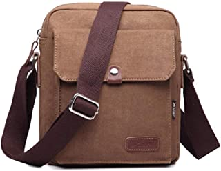 Messenger Bag for Men and Women, Vintage Small Canvas Shoulder Crossbody Purse-Coffee