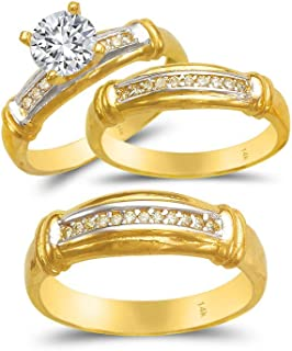 TOUSIATTAR Trio Ring Set 14k Gold Two Tone - 3-Piece Wedding His Engagement Her Band Rings Sets - Round Cubic Zirconia CZ for Couple Mens and Women - Anillos de Matrimonio