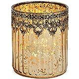 matches21 Windlicht Kerzenglas Glas Teelichtglas Orientalisch Marokko Design Gold antik Metalldekor 1 STK Ø 10x12 cm