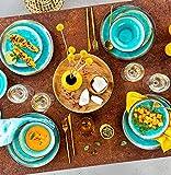 Sänger Dinner Service Capri aus Porzellan 12 teilig für 4 Personen | Füllmenge der Schalen 700 ml | Tellerset im Vintage-Stil Blau, Geschirrset, Porzellanservice - 6