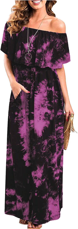 Aliling Womens Off The Shoulder Ruffle Party Dresses Tie Dye Split Maxi Long Dress