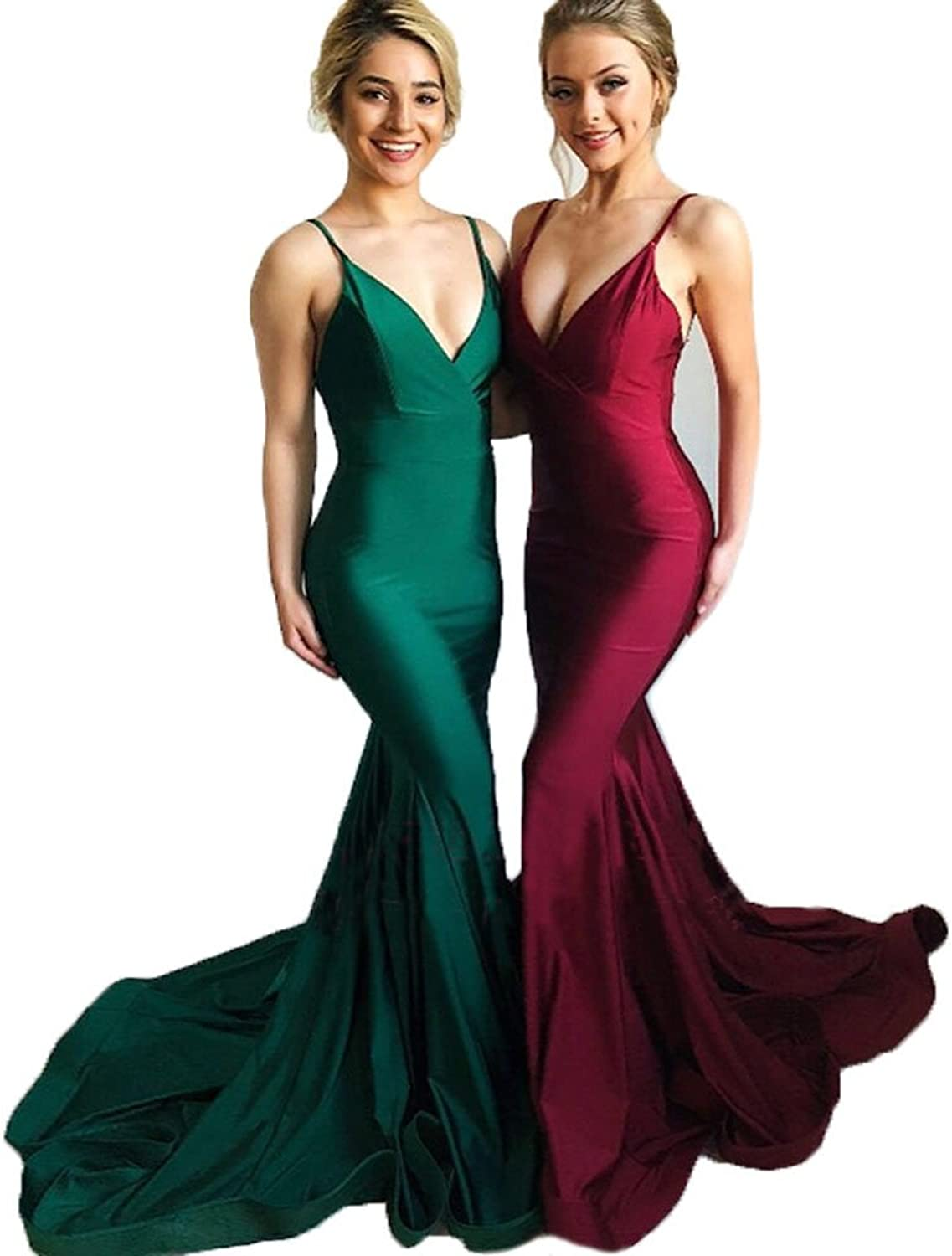 CCBubble Mermaid Prom Dresses 2018 Spaghetti Straps Long Evening Party Dress