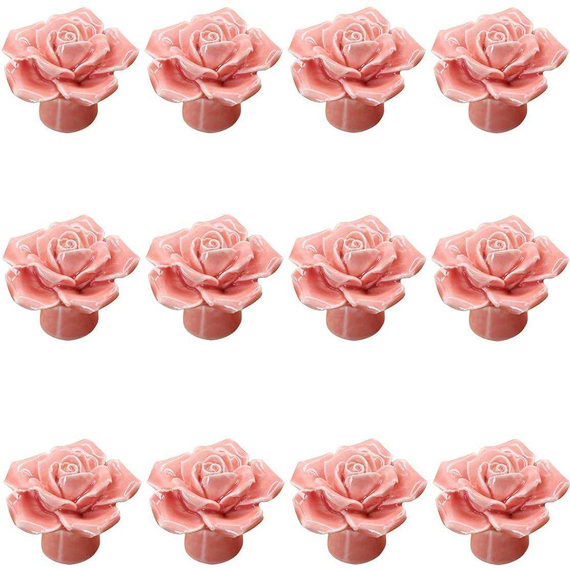 Pink Ceramic Rose Flower Knob ?European Modern Handle for Drawer Dresser Door Cabinet Cupboard Children's Furniture Home Decoration by Choubao-12PCS