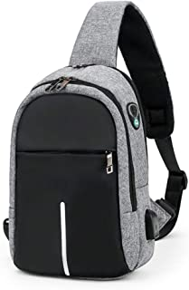 Mens Sling bag Anti Theft Crossbody Backpack 7.9inch Small Waterproof Chest Sling Bags with Packet Usb Charging Shoulder Bag (Grey)