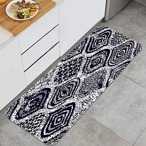 PUIO Juegos de alfombras de Cocina Multiusos,Ornamento sin Costuras Textura Grunge de Estilo Oriental,Alfombrillas cómodas para Uso en el Piso de Cocina súper absorbentes y Antideslizantes