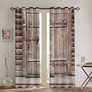 DONEECKL Rustic Window Curtain Timber Rustic Door in Wall of an Old Log House Ancient Abandoned Building Entrance Gate Waterproof Fabric W42 x L45 inch Brown