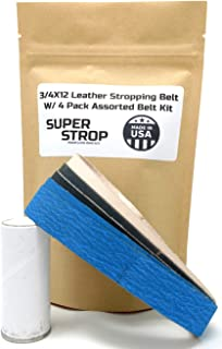 3/4X12 Inch Assorted Belt Kit With Leather Super Strop fits Ken Onion Work Sharp Knife and Tool Sharpener (NON OEM)