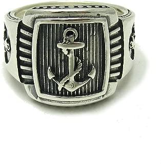 Claddagh irland/és de MENDINO de estilo retro joya de plata negra y acero inoxidable piel de serpiente Anillo para hombre espada nudo celta con dise/ño de ancla y granos