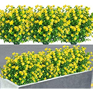 8 Pack Artificial Flowers Fake Plants Outdoor uv Resistant Faux Plastic Plants Greenery Shrubs Indoor Outside Hanging Planter for Home Kitchen Office Garden Decor (Yellow)