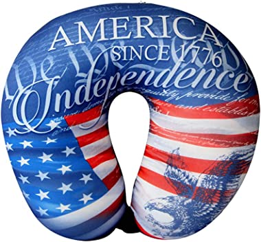 America 1776 Independence Day American Flag - Cloudz Microbead Travel Neck Pillow