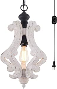 HMVPL Wooden Plug in Hanging Light, Farmhouse Pendant Lighting Fixtures Chandeliers with 16.4ft Hanging Cord and Dimmer Switch for Kitchen Island Dining Room Bedroom Foyer Hallway Front Door