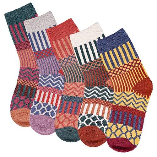 5 pares de calcetines térmicos de punto para invierno, gruesos, cálidos, transpirables, multicolores, para mujer