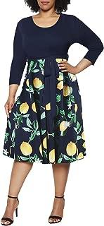 Women's Plus Size 3/4 Sleeve Faux Wrap Floral Dress with Belt