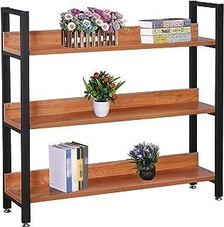 GXOK Creative Steel Wood Bookshelf Shelf Living Room Showcase Storage Shelf,Flower Pots Holder Display Rack for Home Garden [Ship from USA Directly]
