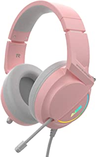 Homyl AX365 RGB Gaming Headset Wired with Mic 7.1 Channel Surround Led Light for PC Laptop Desktop - Pink USB 7.1